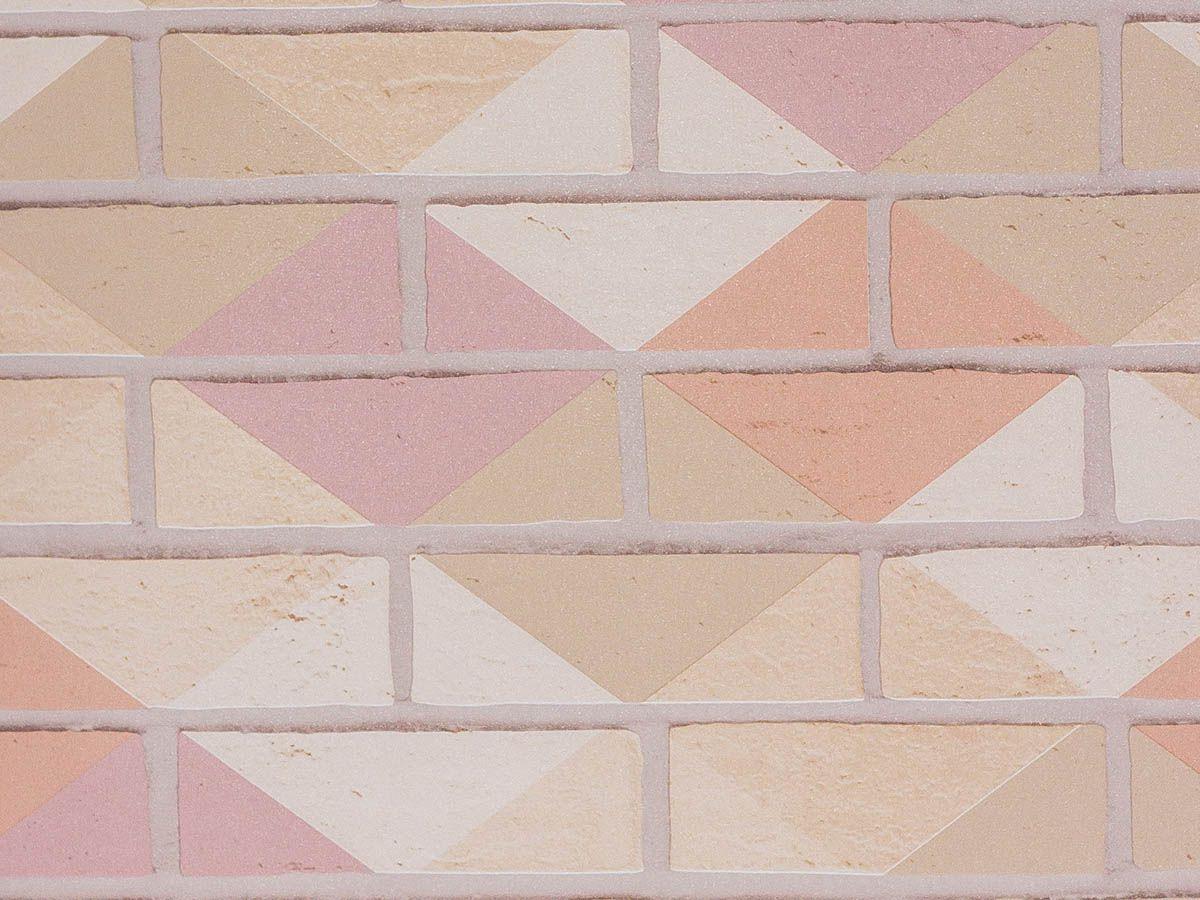 Papel De Parede Liso Tijolo Colorido Nude Rose E Iced Coffe - 371002