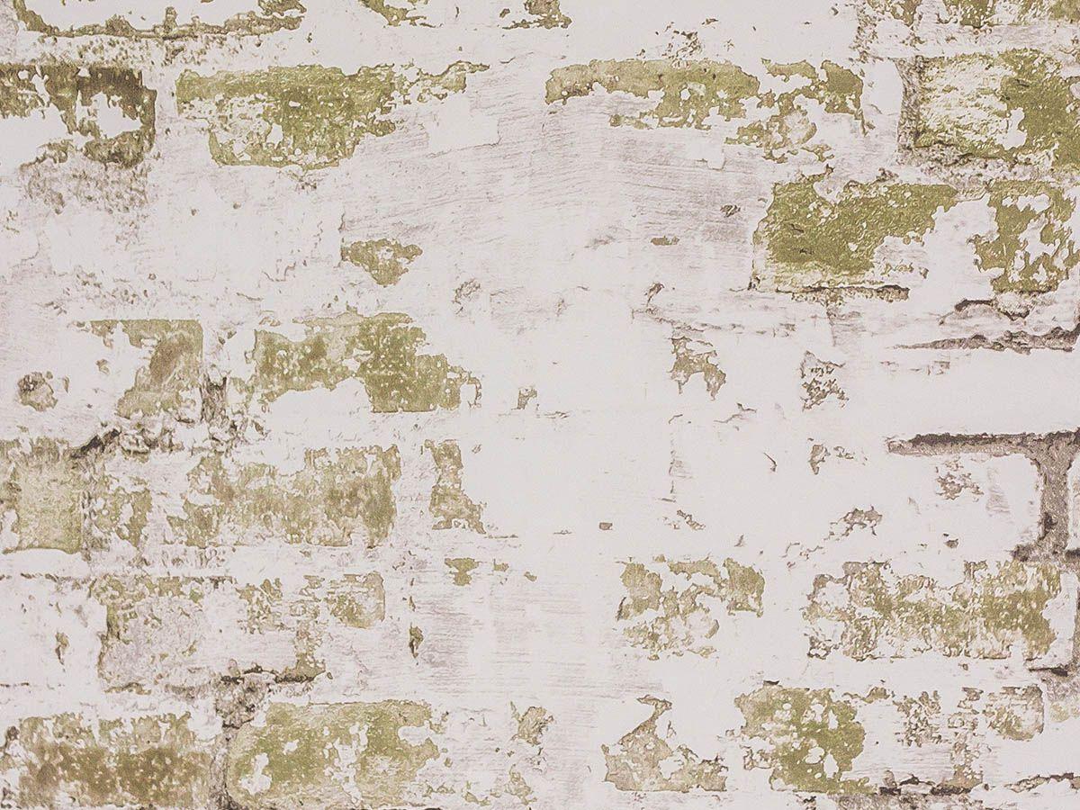 Papel De Parede Liso Tijolo Demolição Branco E Verde Musgo - Hs2024