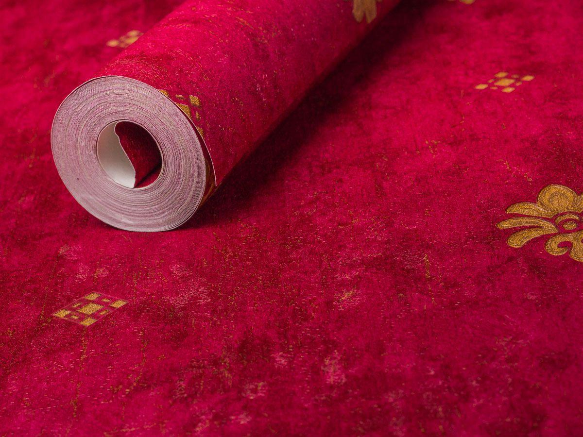 Papel De Parede Texturizado Mini Arabesco Vermelho E Conhaque - 87047