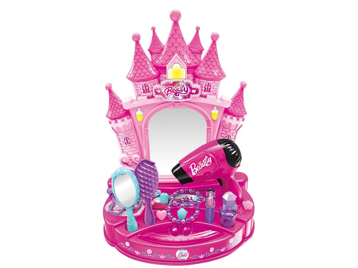 Penteadeira Beauty Princess com luz e som - Rosa