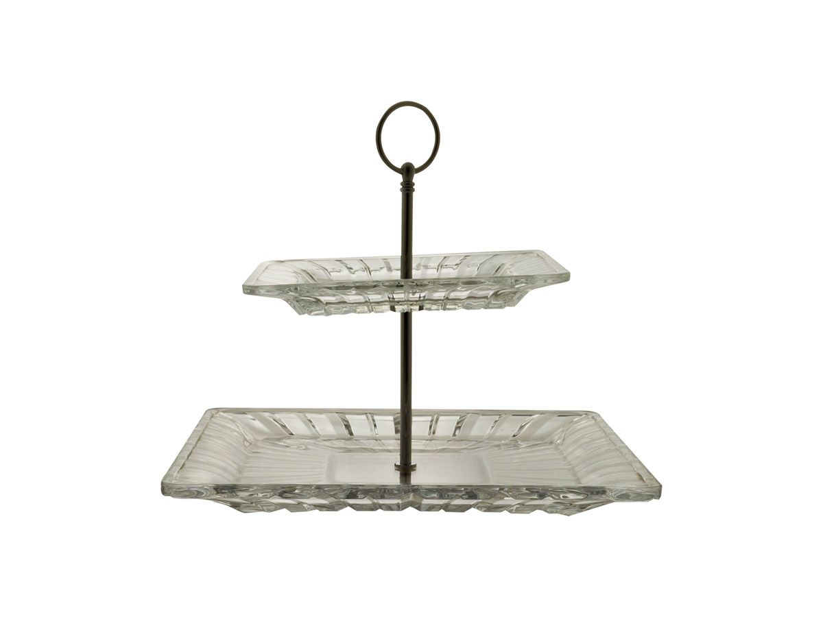 Porta Doces com 2 andares em Cristal Quadratta - 28x2,5 cm