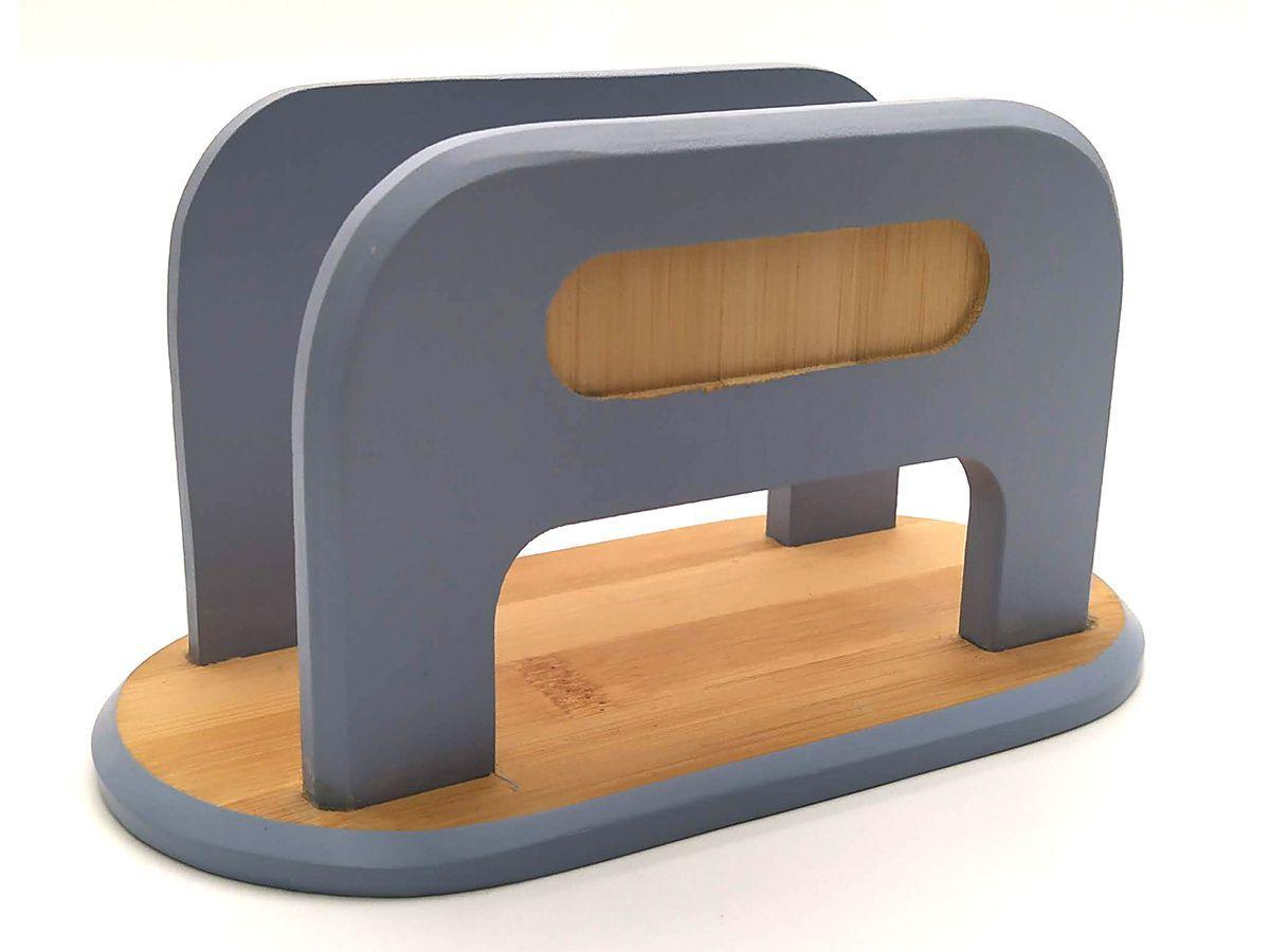 Porta Guardanapo De Bambu 17 X 9Cm Azul
