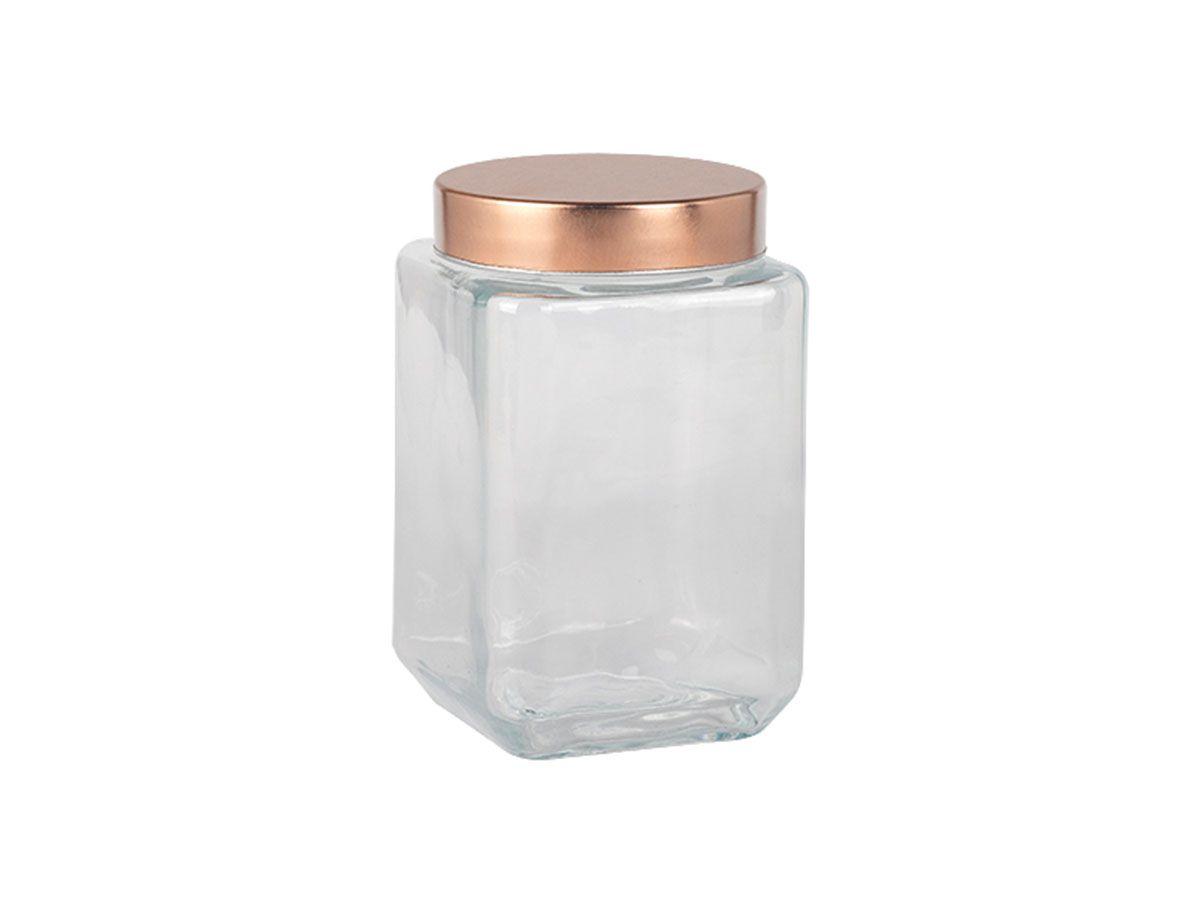 Porta Mantimento Quadrado em Vidro Transparente com Tampa de Metal Cobre 1,6 Litros