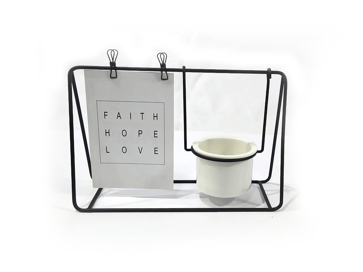 Porta Recado Metal Preto com Pote Ceramica 25x16,5cm
