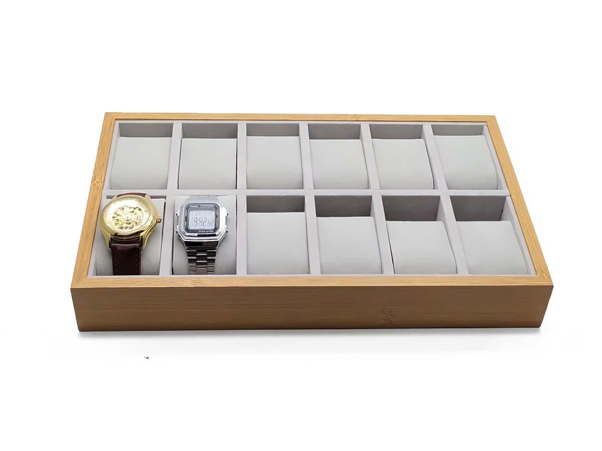 Porta Relógio Thai Madeira com Veludo x12 33X20,5CM