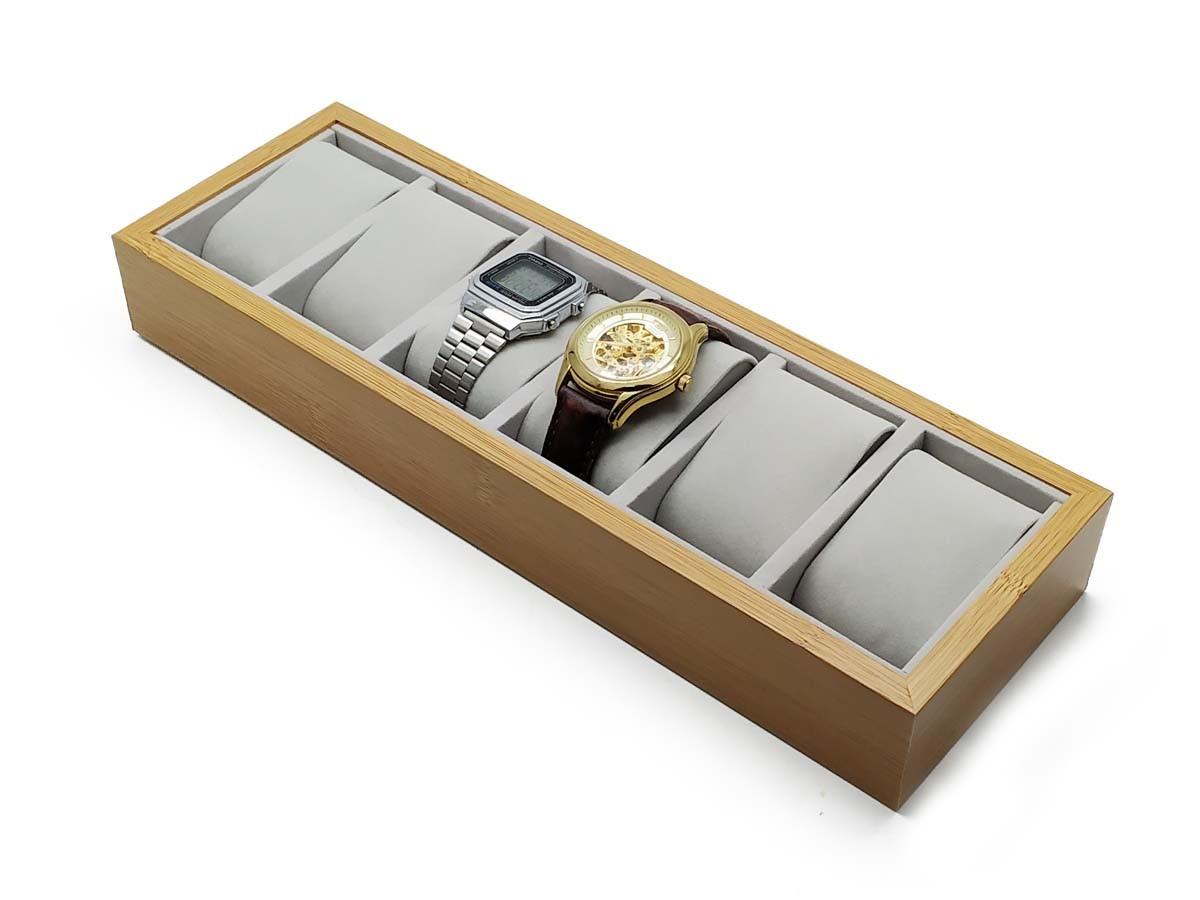Porta Relógio Thai Madeira com Veludo x6 33X11X4,5cm