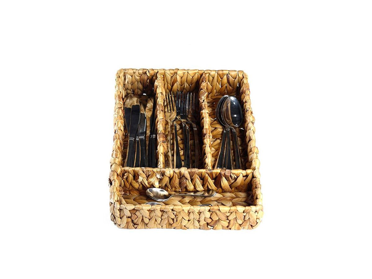 Porta Talheres Retangular em Palha com 4 divisórias - 35 x 28 x 8 cm