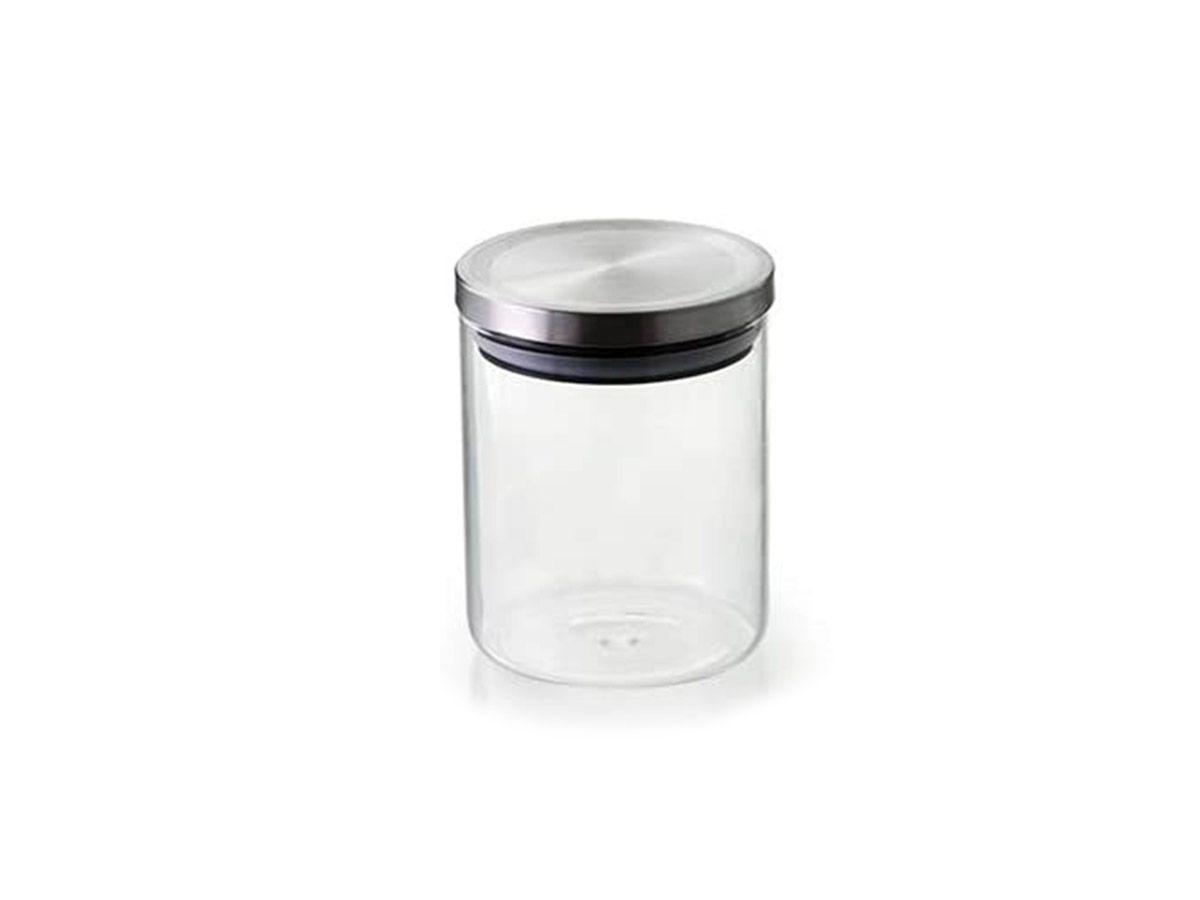 Pote Hermetico Vidro Borosilicato com Tampa Cor Prata 10x18 cm