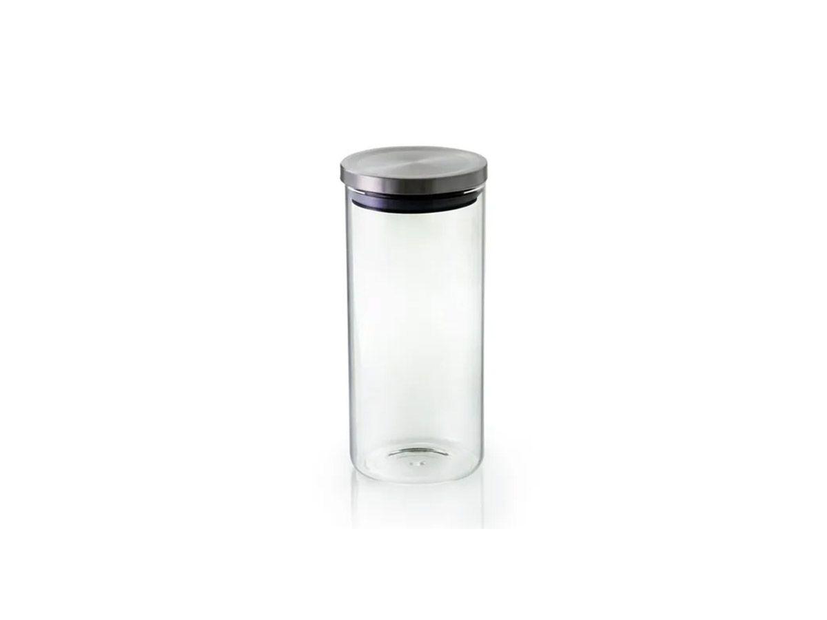Pote Hermetico Vidro Borosilicato com Tampa Cor Prata 10x23 cm