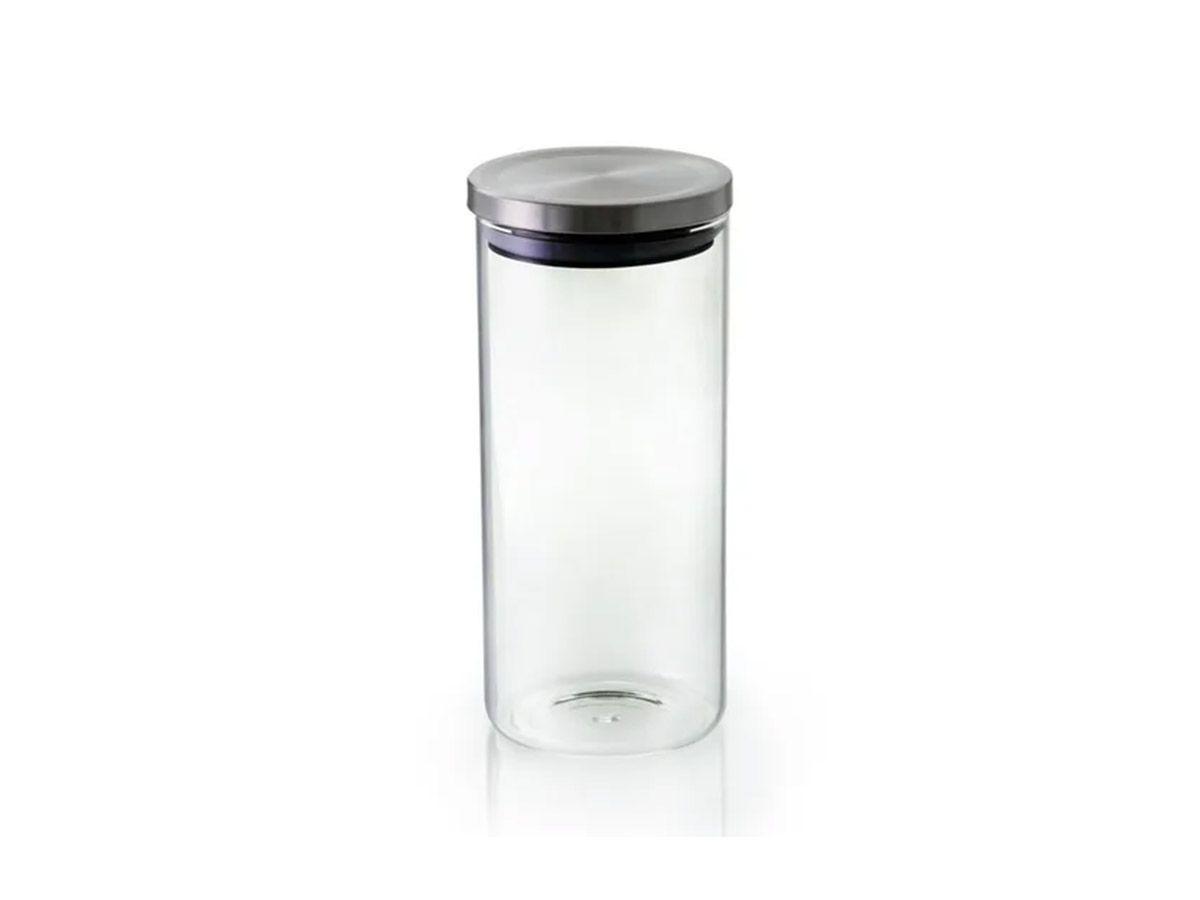 Pote Hermetico Vidro Borosilicato com Tampa Cor Prata 10x28 cm