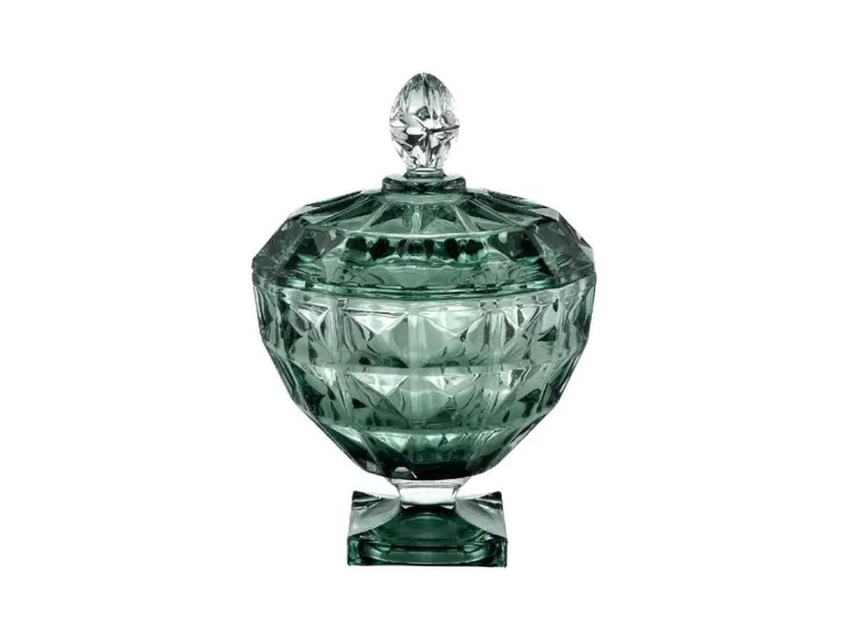 Potiche decorativo em cristal com pé diamante jade - 18 x 24 cm