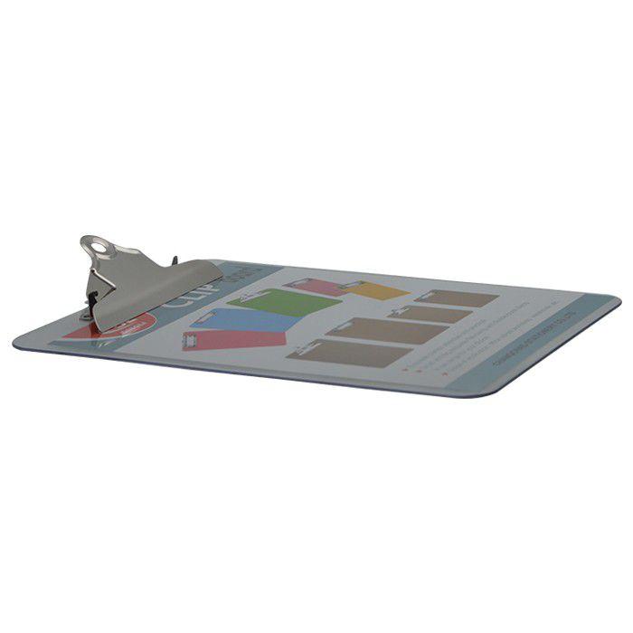 Prancheta Plástica A4 Com Prendedor Metal Transparente