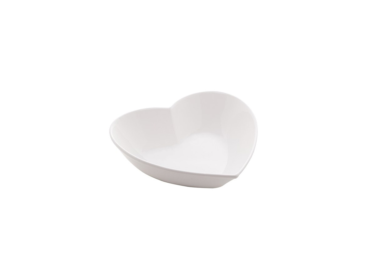 Prato Cerâmica Coração Branco 12X11X4,1 Cm