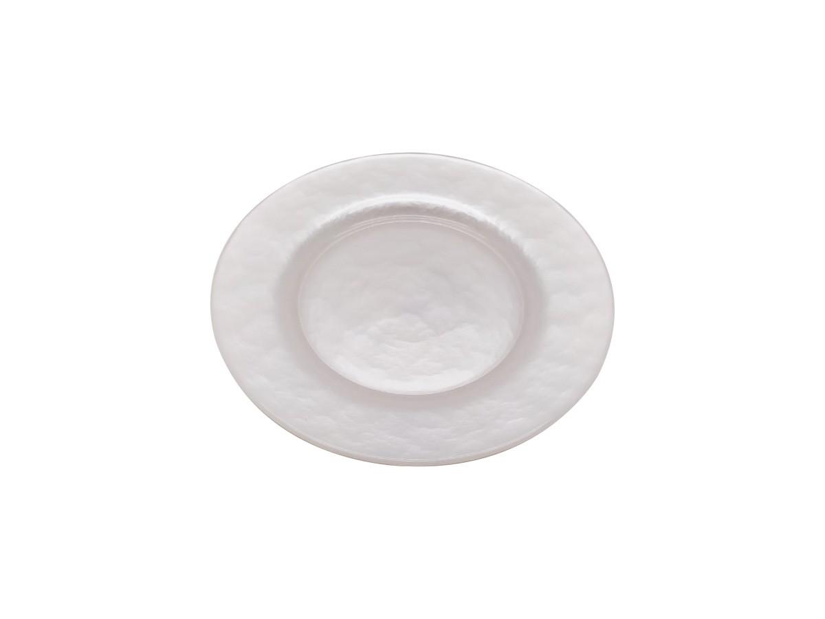 Prato decorativo em vidro Madre Pérola branco - 20,5 cm