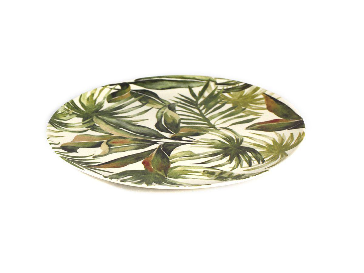 Prato para Sobremesa em Fibra de Bambu Folhas 19 cm