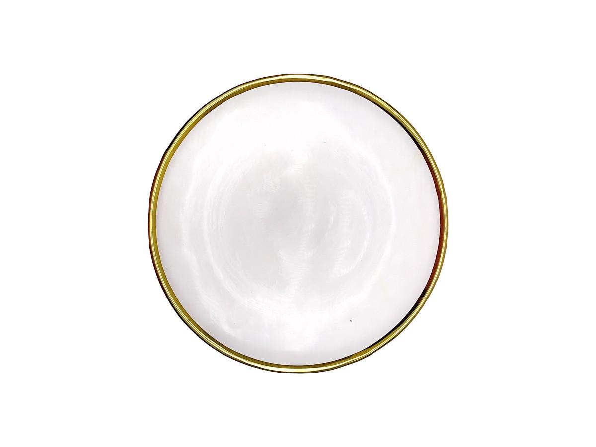 Prato para sobremesa em Vidro texturizado com filete dourado - 21,5 cm