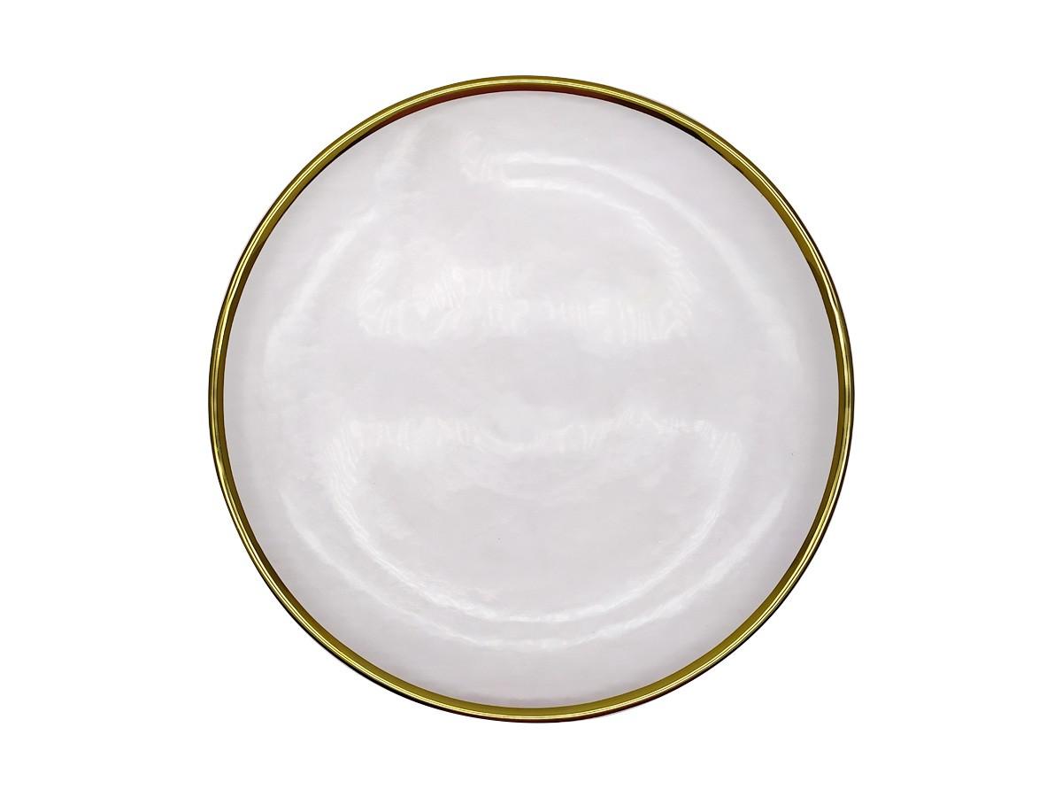 Prato raso em vidro texturizado com filete dourado - 26,5 cm