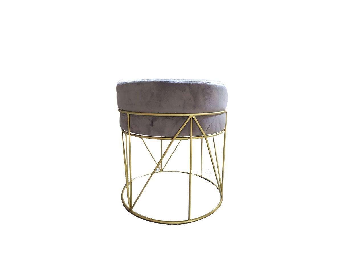 Puff Banqueta de Veludo Cinza com Estrutura de Metal Dourado 40x36cm