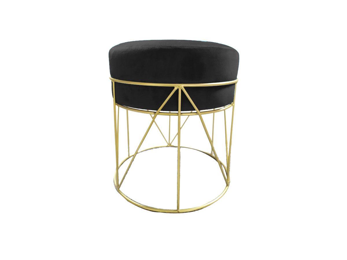 Puff Banqueta de Veludo Preto com Estrutura de Metal Dourado 40x36cm