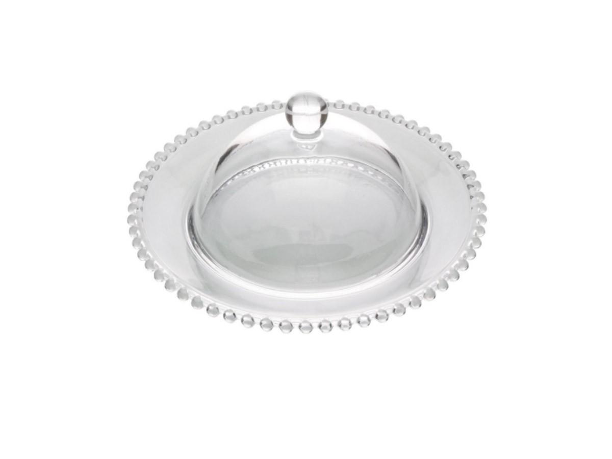 Queijeira em cristal Wolff Pearl Bolinha - 20x9cm