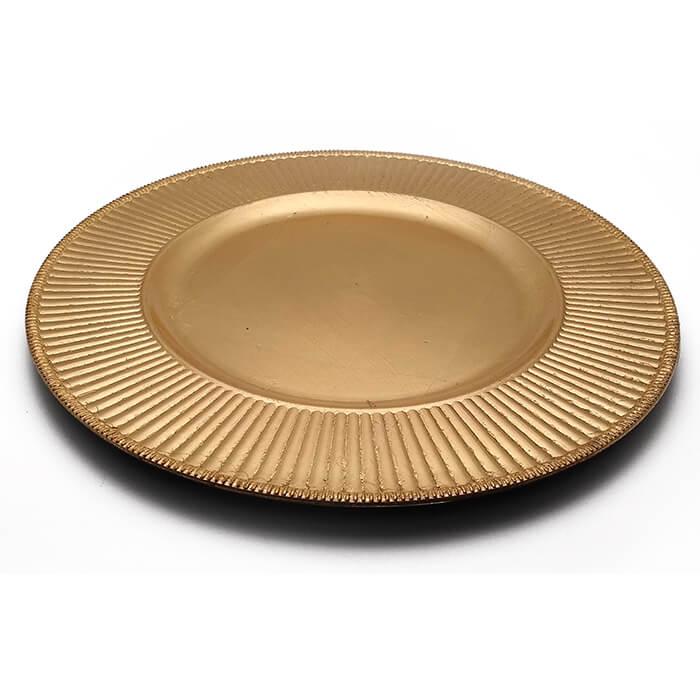 Sousplat Dourado Filetado Com Detalhes