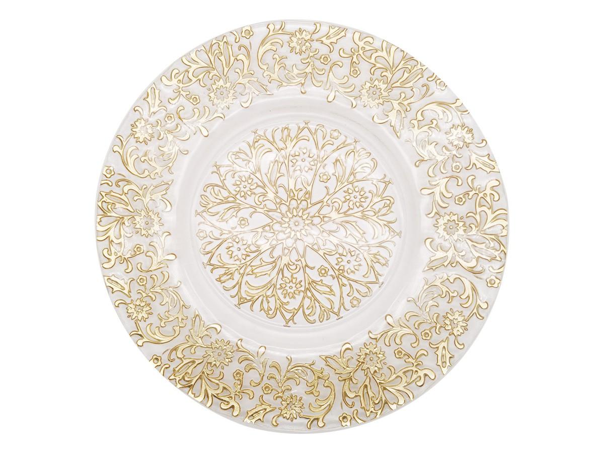 Sousplat em Vidro com flores douradas -  33 cm