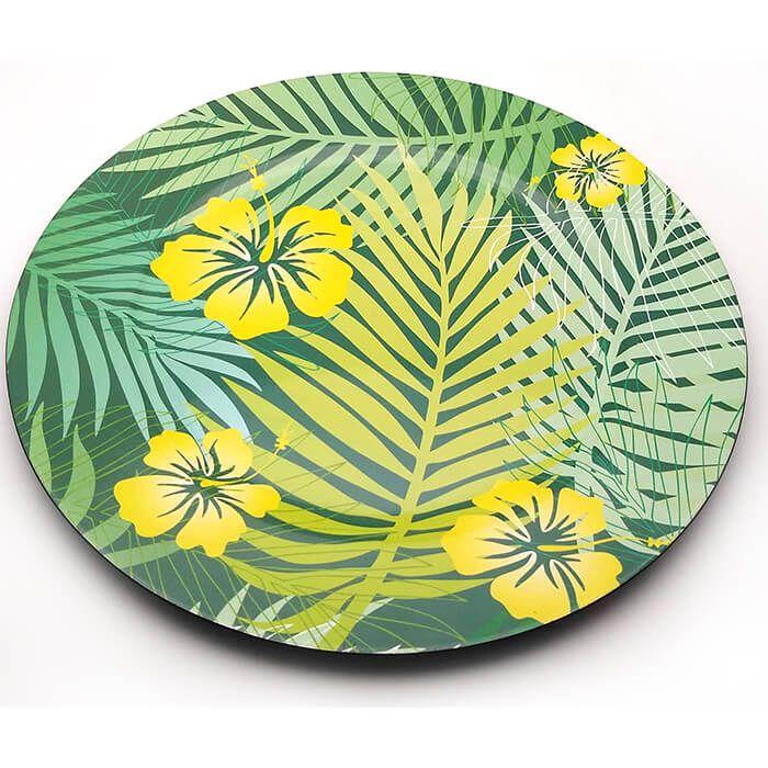 Sousplat Polipropileno Folhas Palmeira Com Flores