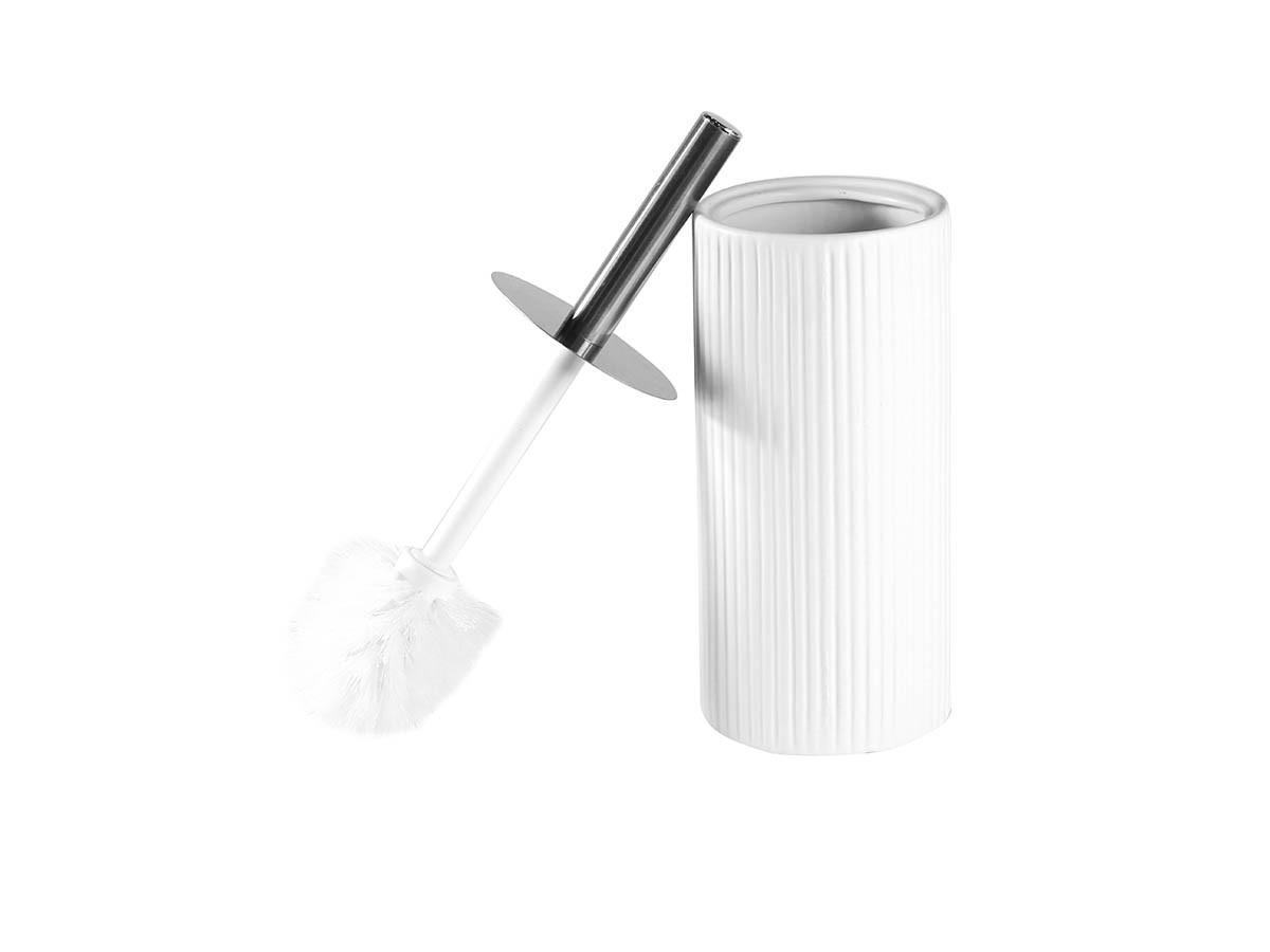 Suporte Com Escova Sanitária Ceramica Plissada Branca