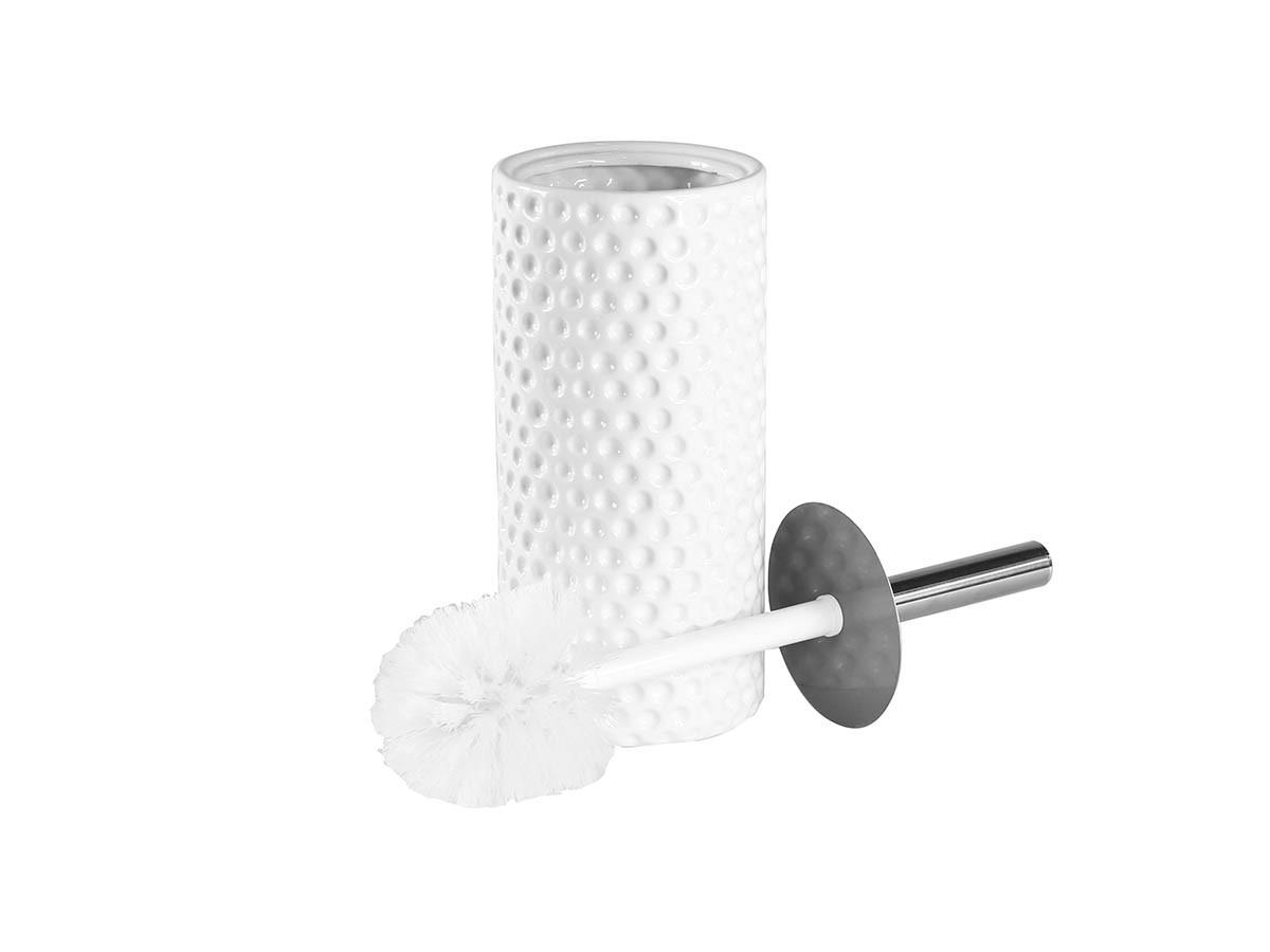 Suporte Com Escova Sanitária Ceramica Texturizada Branca