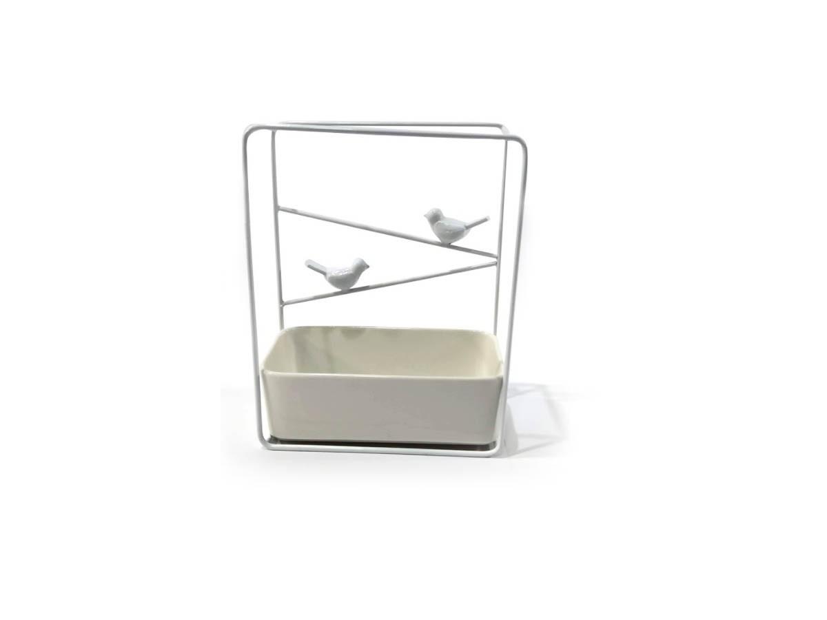 Suporte Birds em Metal branco e vaso em cerâmica - 21 x 17 x 8,5 cm