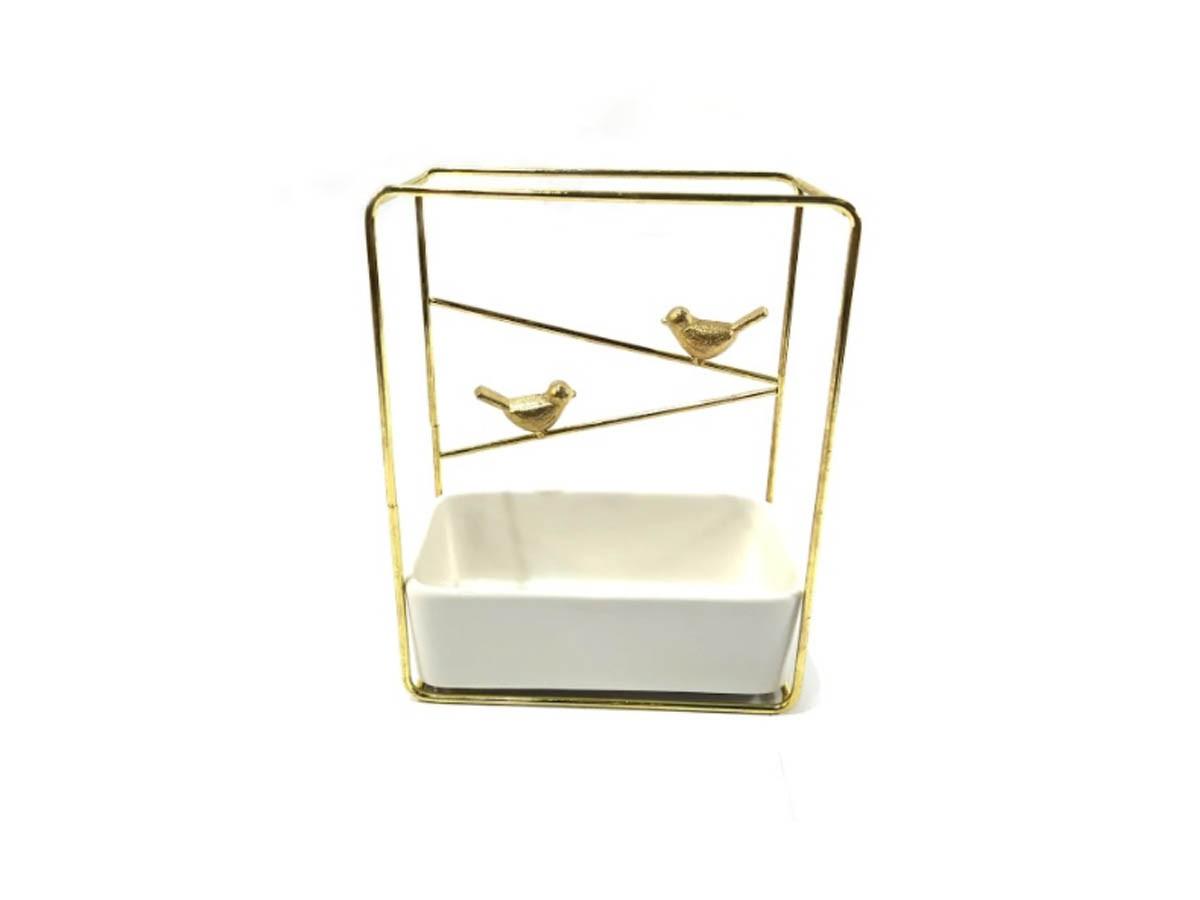 Suporte Birds em Metal dourado e vaso em cerâmica - 21 x 17 x 8,5 cm