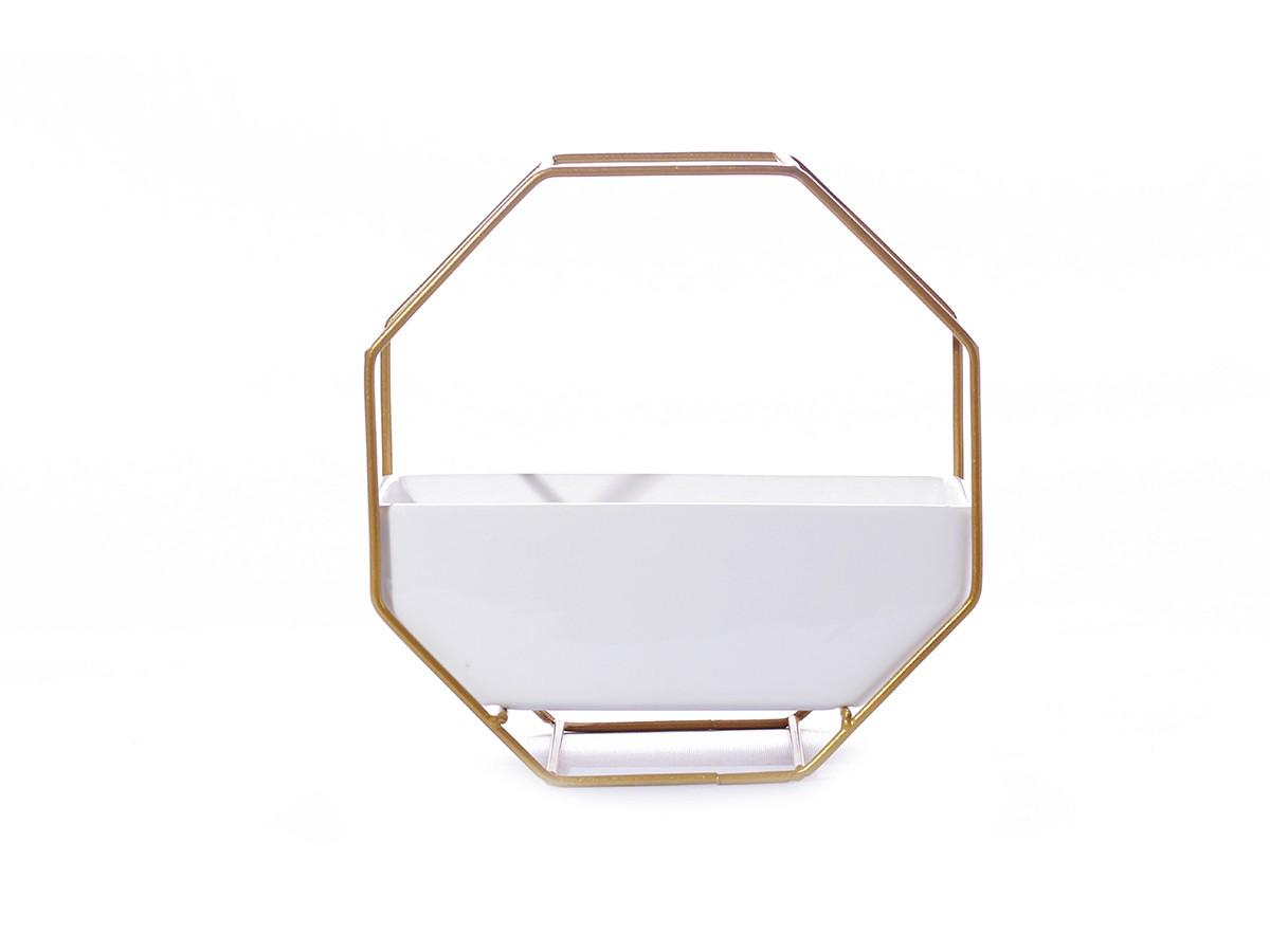 Suporte em metal dourado com Vaso em cerâmica - 17 x 18 x 09 cm