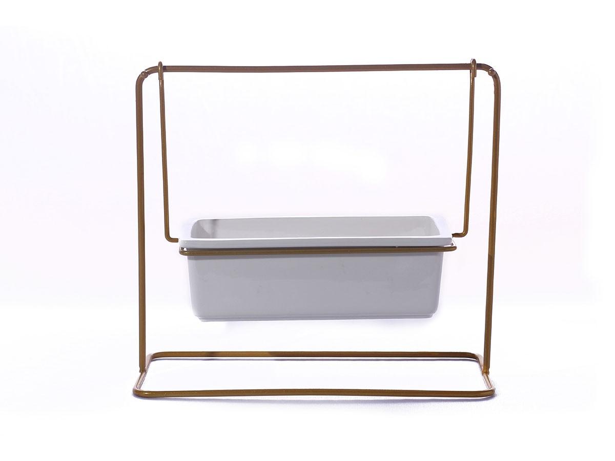 Suporte em metal dourado com vaso em cerâmica - 24,5 x 12 x 22 cm