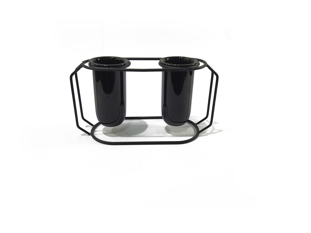 Suporte em metal duplo preto com vaso preto em cerâmica - 24,5 x 13,5 cm