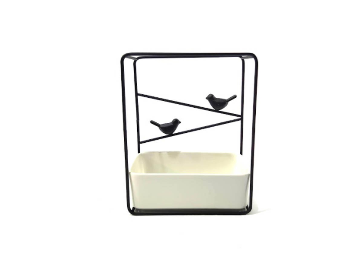 Suporte Birds em Metal preto e vaso em cerâmica - 21 x 17 x 8,5 cm
