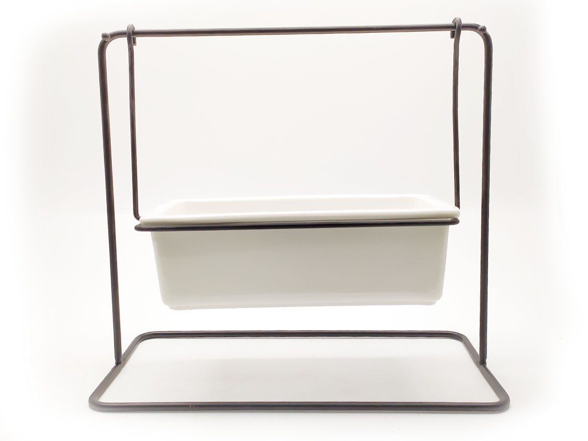 Suporte em Metal Preto com Vaso em Cerâmica - 24,5 x 12 x 22 cm