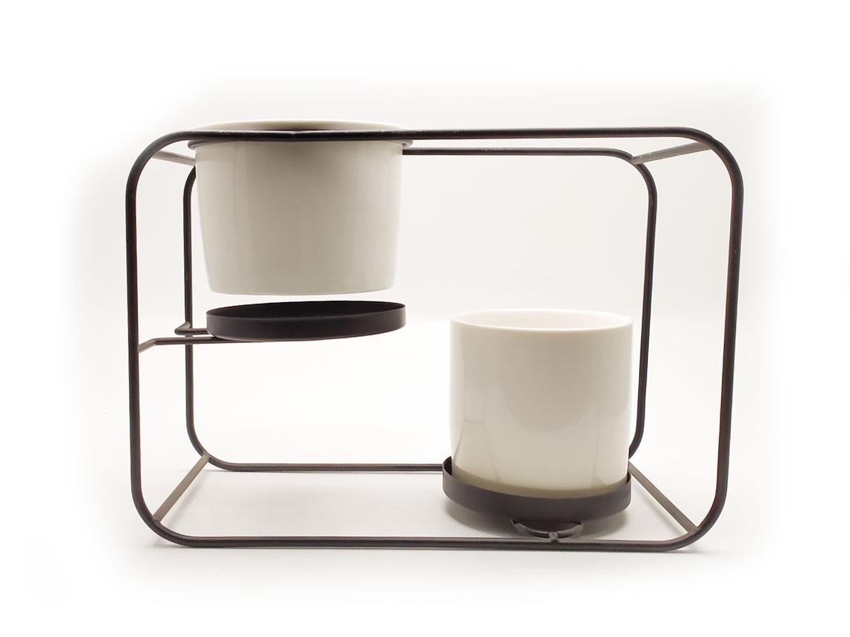 Suporte em Metal Preto para 02 vasos em Cerâmica - 12 x 26,5 x 19 cm
