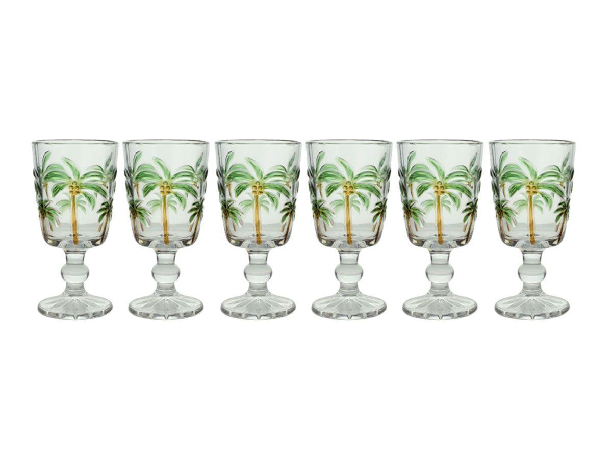 Taças Cristal Palm Hand Painting Grande Coqueiro 6 Peças