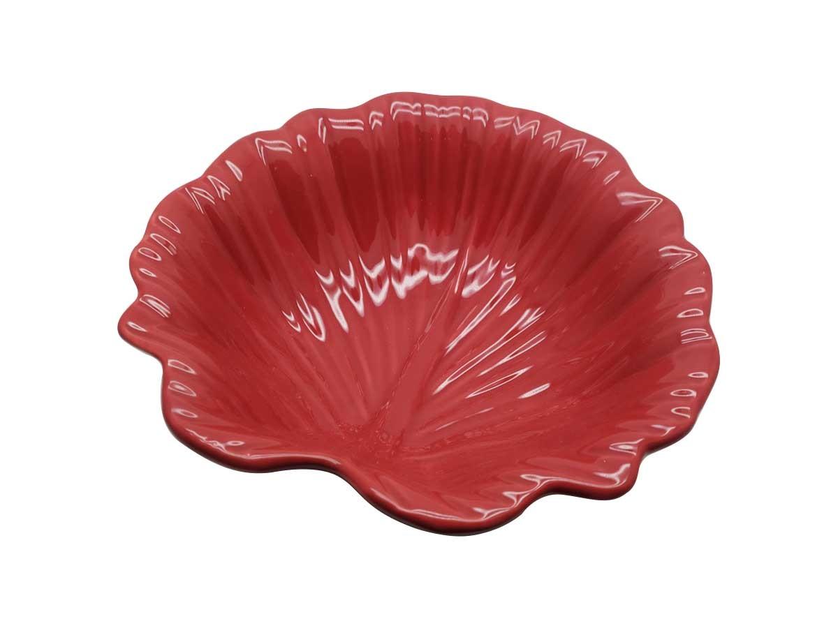 Tigela em cerâmica Folha Vermelha - 22 x 07 cm
