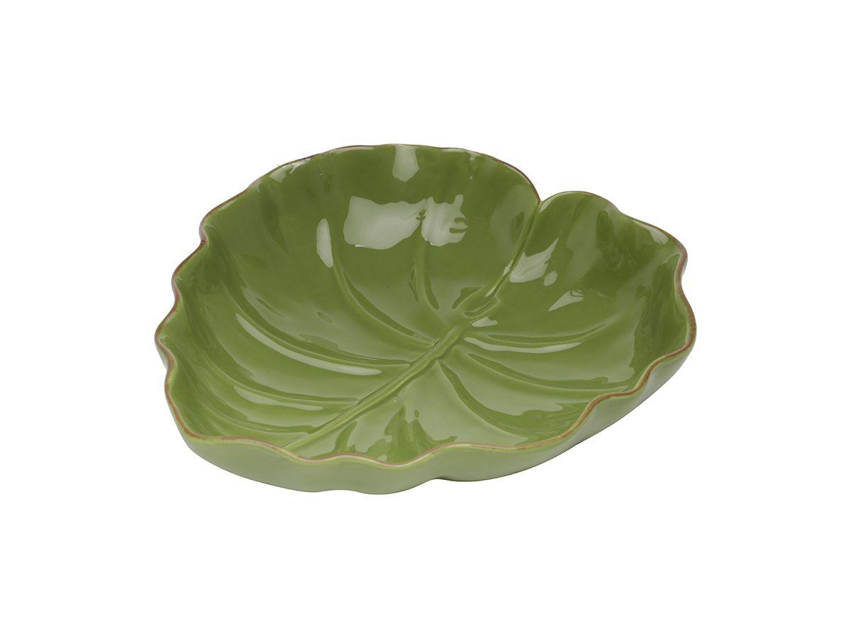 Tigela Folha Dolomita Ceramica Verde 16x15x4,5 cm