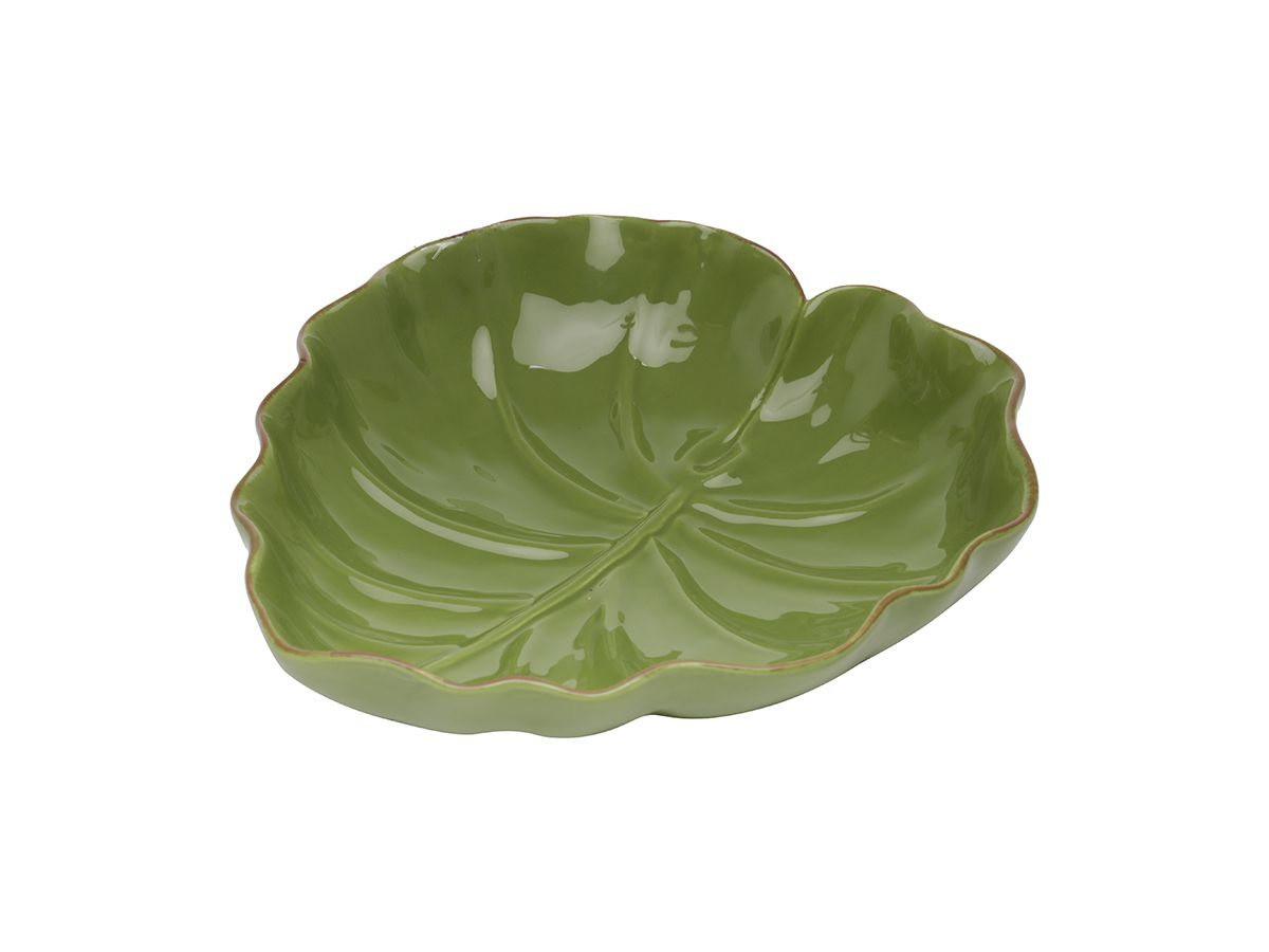 Tigela Folha Dolomita Ceramica Verde 28 x 27 x 7 cm