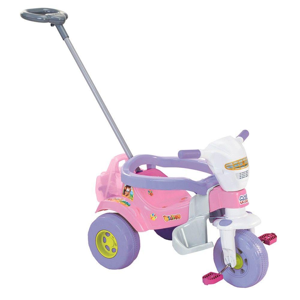 Triciclo Bichos Rosa Com Haste Direcionável 3515 - Magic Toys