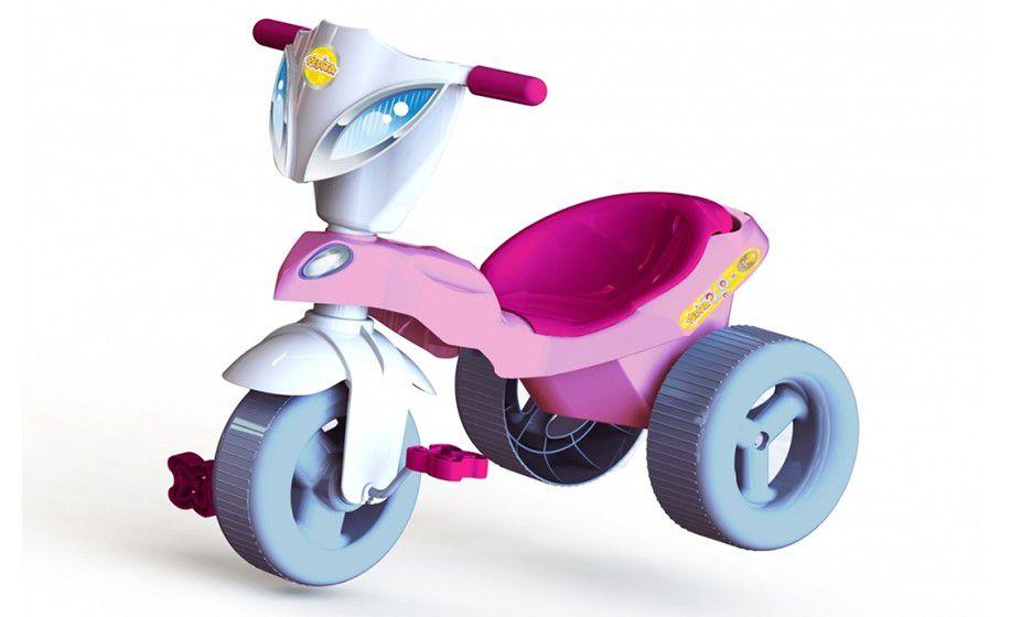 Triciclo Infantil Pepita Com Baú Rosa Branco - Xalingo