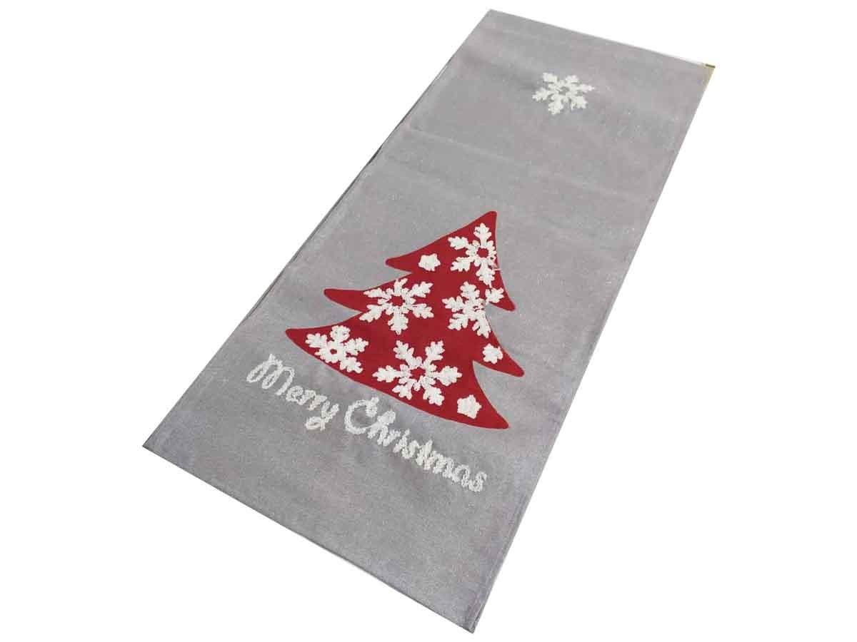 Trilho de mesa em linho com bordado natalino - 34 x 170 cm
