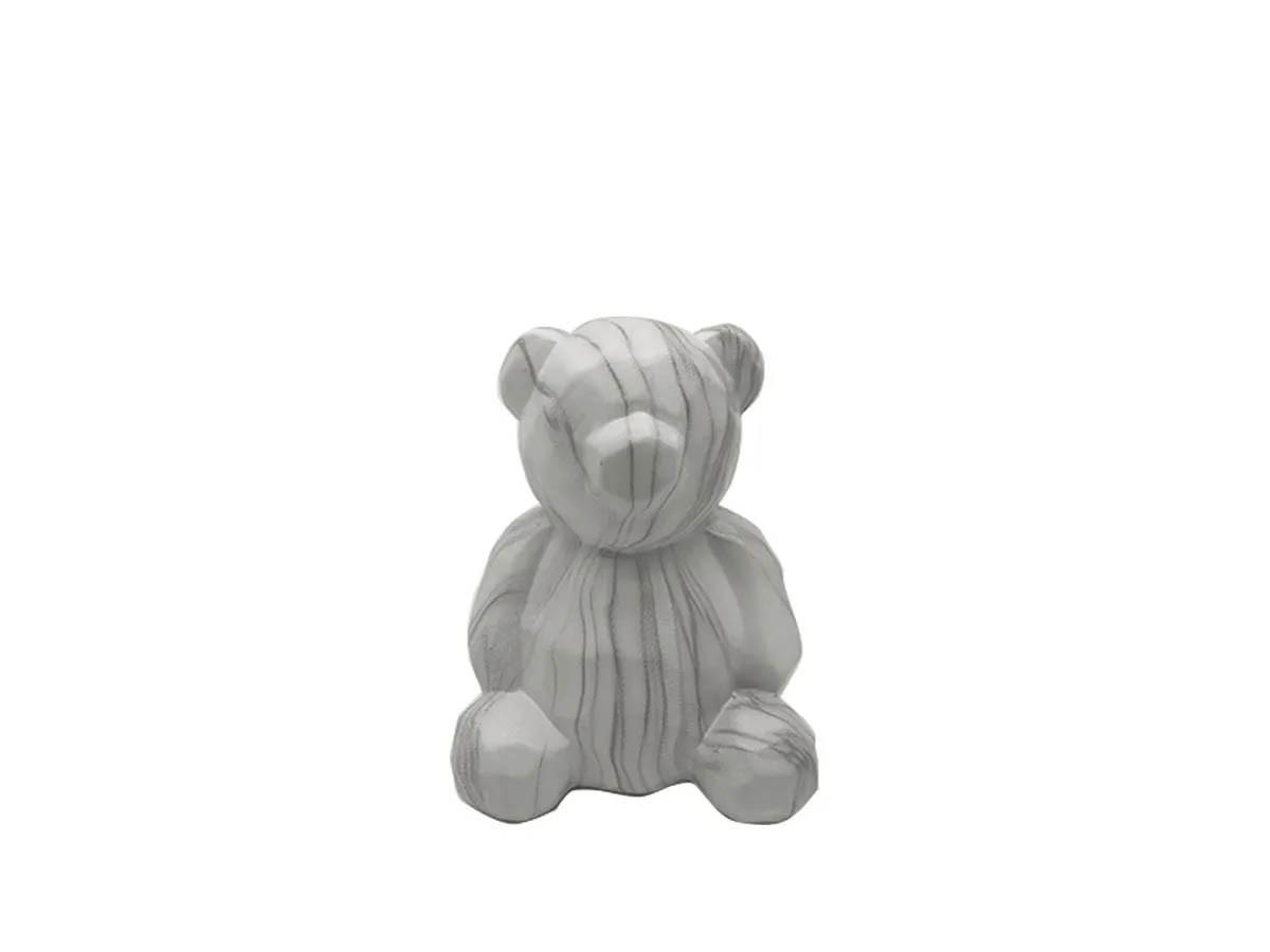 Urso em cerâmica marmorizada decorativo - 14 x 11 cm
