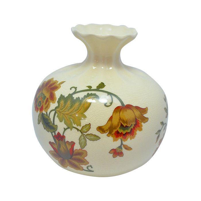 Vaso Botija Estampado Bege C/Flores 15Cm 3966
