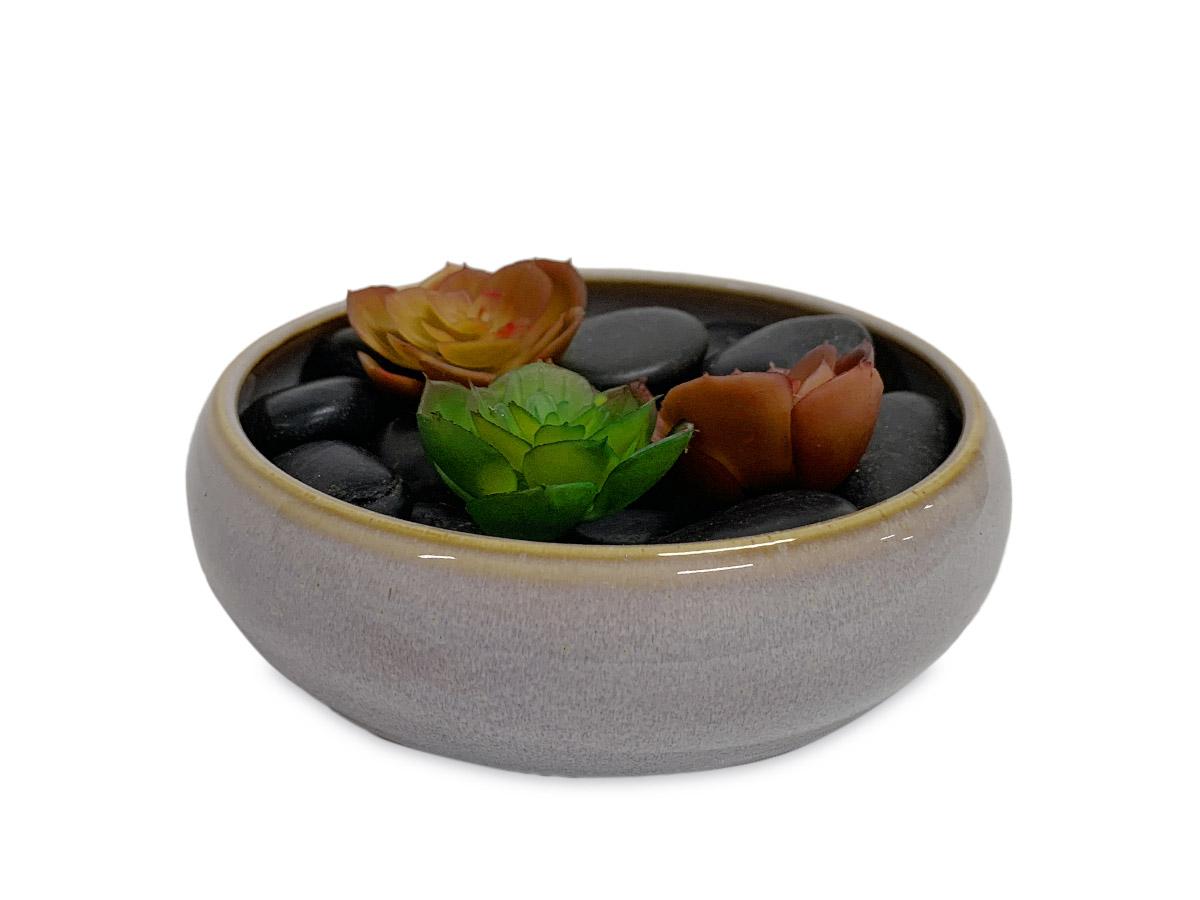Vaso Ceramica Baixo Cinza e Bege 4,5cm