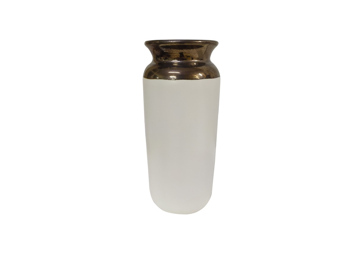 Vaso Cerâmica Branco com Borda Dourada 20,5x10x9cm