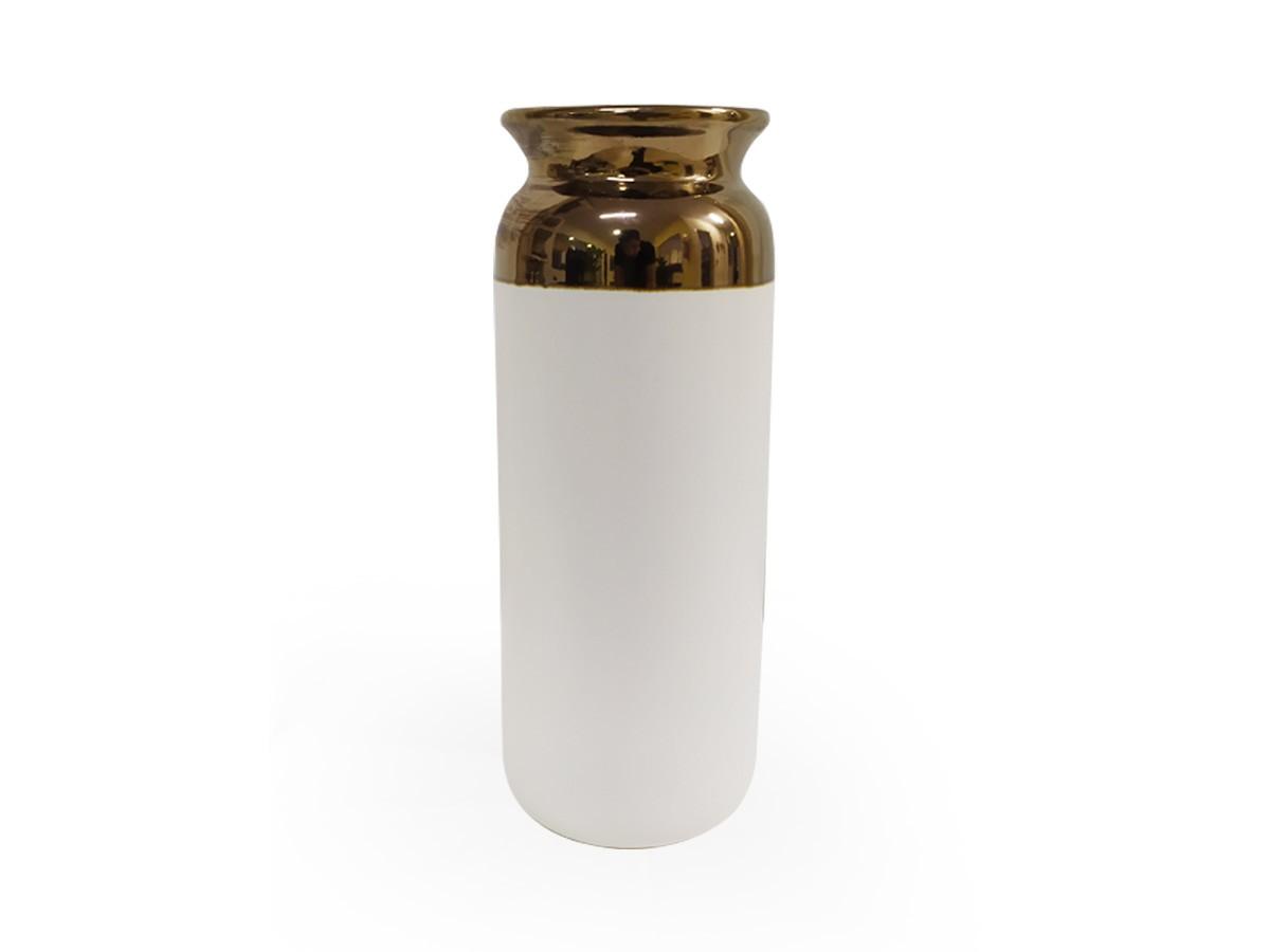 Vaso Cerâmica Branco com Borda Dourada 25x10,5x9,5cm