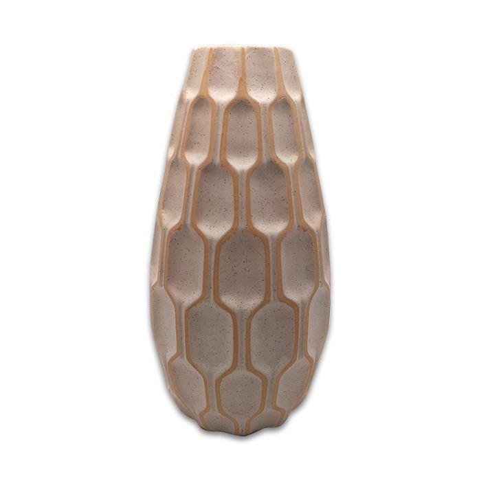 Vaso Ceramica Colmeia Cinza 20X7Cm